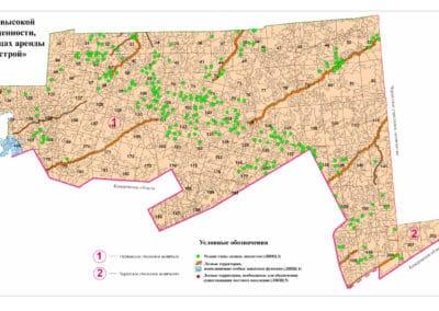 Карта-схема расположения лесов высокой природоохранной ценности, выявленные в границах аренды ООО «Монолит-Строй»