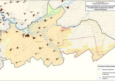 Карта размещения охотопользователей на территории Зырянского района Томской области